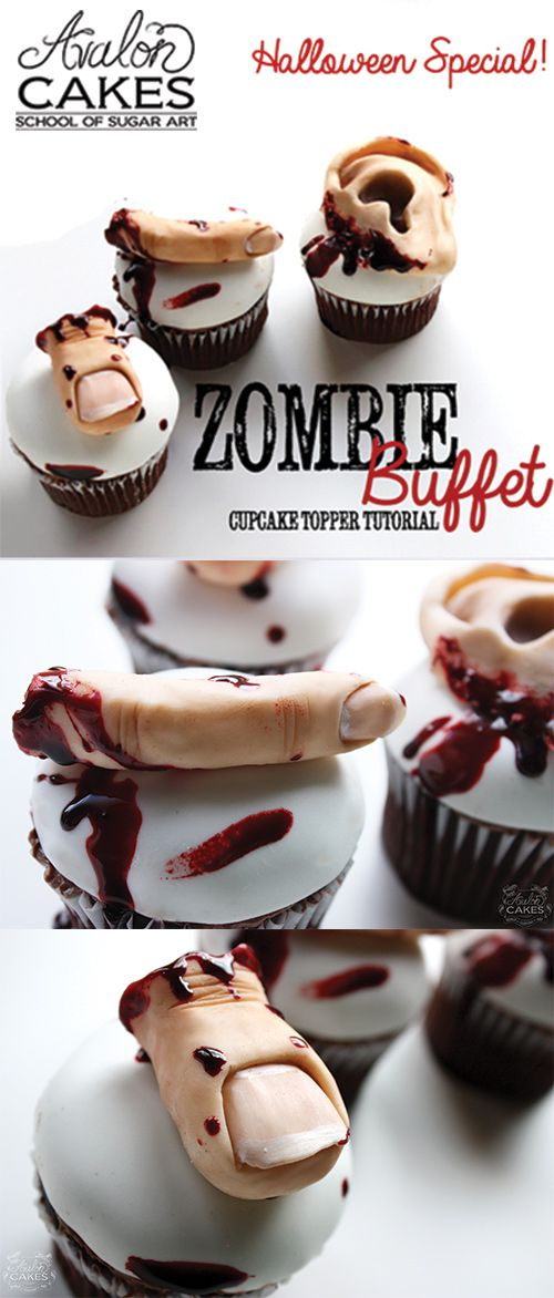 "Zombie Buffet Cupcake Toppers! Learn how to hand sculpt a finger, toe and ear out of modeling chocolate. How to color you sculpts to look realistic. How to create life-like ""movie"" style edible blood. Perfect for Zombie themed parties and Halloween! Click through to see more."