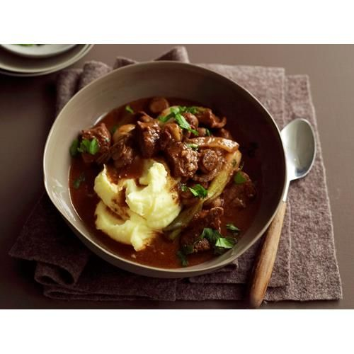Slow-cooker beef, mushroom and red wine stew recipe - By Australian Women's Weekly, Warm, hearty and packed full of delicious ingredients, this beef and mushroom stew is…