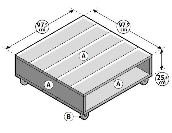 Eenvoudig model verrijdbare salontafel, gratis bouwtekening voor steigerhout.