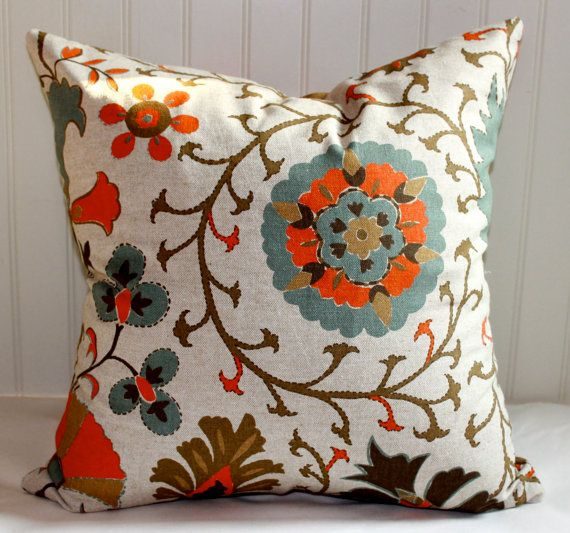 Orange, Turquoise and Brown Floral Pillow Cover/ 18 X 18 / Designer fabric, same both sides