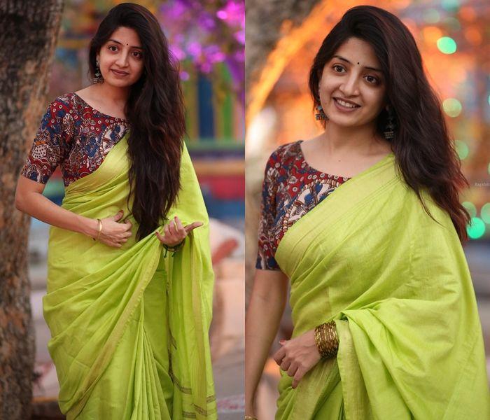 How to Wear Artistic Kalamkari Blouse with Plain Sarees 11