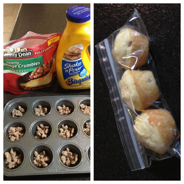 Easy kids breakfast: sausage pancake bites. Spray mini muffin pan with nonstick spray. Add sausage crumbles (I like turkey), pour pancake mix over them, bake at 350 for 10min. Dip in syrup if you like. Easy to freeze! I'm making these right now. :)