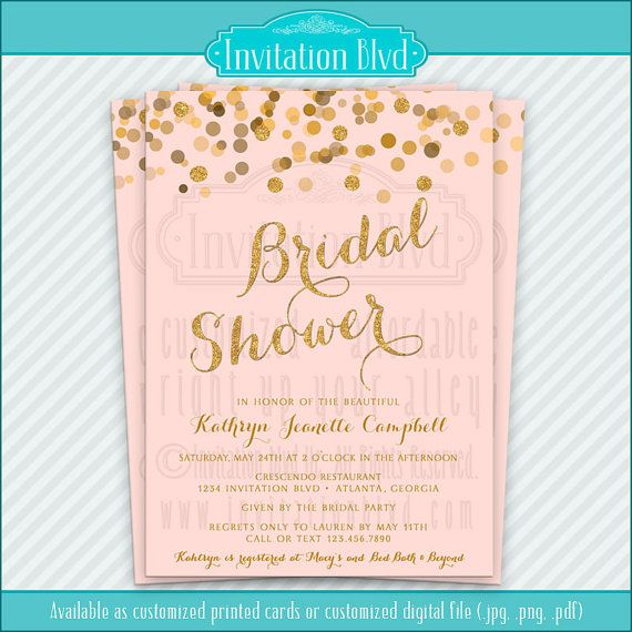 Blush & Gold, Mint & Gold, Ivory & Gold Confetti Customizable Bridal Shower Invitations by InvitationBlvd, $10.99