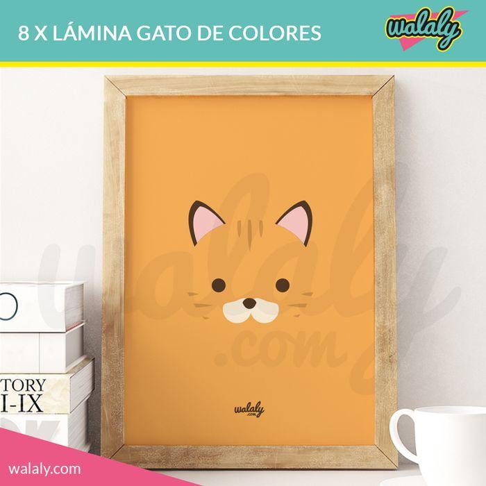 Láminas imprimibles con ilustraciones de gatos en diferentes colores. Descarga, imprime, enmarca y decora tu casa con un toque original y divertido.