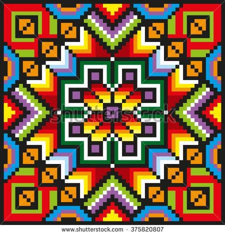 Bright stitching floral pattern. Vintage decorative pillow. Vector illustration