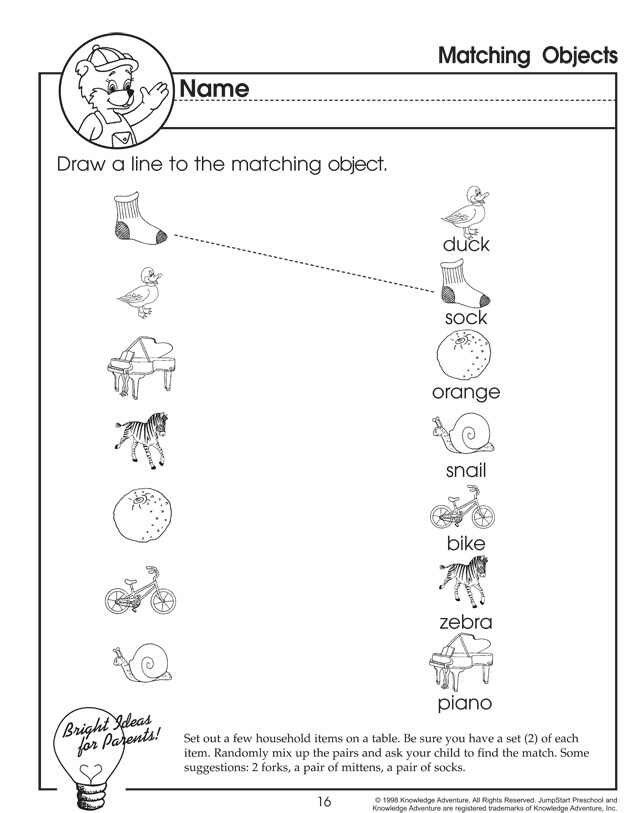 Printables Preschool Homeschool Worksheets 1000 images about homeschooling preschool 2 3 on pinterest matching objects is a worksheet that helps preschoolers practice their thinking skills and fine motor as they