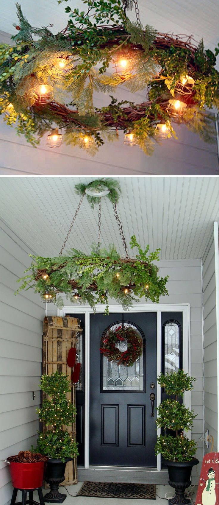 Christmas wreath hung in place of your porch light. What a beautiful addition to your Christmas decorations! I'm thinking dining room also. #christmas #wreaths #decorations #lighting