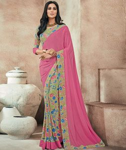 Buy Pink Crepe Printed Saree With Blouse 73990 with blouse online at lowest…