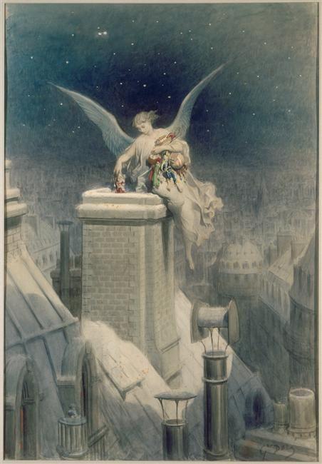 monstresetmerveilles:    Gustave Doré, La Nuit de Noël, XIXe siècle (France)  Dessin à la la gouache et encre noire; 75 x 51cm  Musée du Louvre, Paris