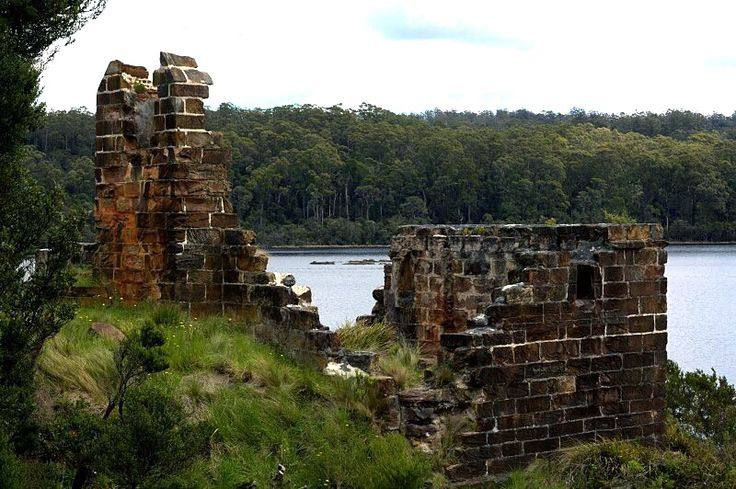 Ruins on Sarah island, once a penal settlement, west coast Tasmania