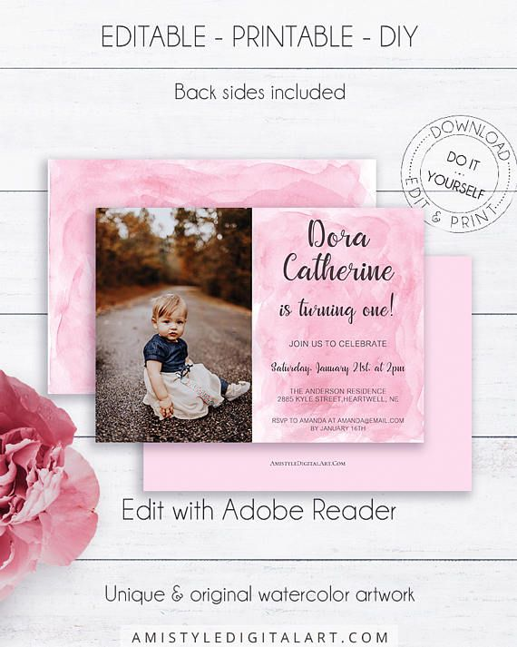 Watercolor Girl Birthday Photo Card - with cute hand-painted watercolor background - in an adorable modern and fresh styleThis pink watercolor photo card template is an instant download EDITABLE PDF so you can download it right away, DIY edit and print it at home or at your local copy shop by Amistyle Digital Art on Etsy