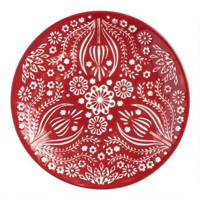 Prettily Patterned With Our Exclusive Scandinavian Inspired Abstract Floral Design These Merry Plates Have Texture Christmas Placemats Plate Sets World Market