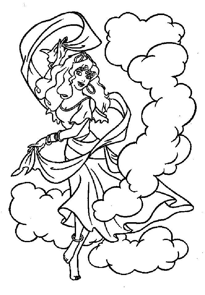 Esmeralda Dance No Smoke Coloring Pages For Kids Printable Hunchback Of Notre Dame