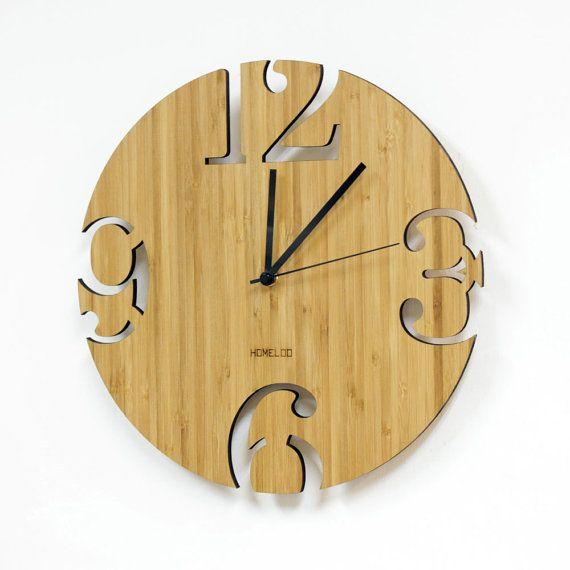 Horloge murale de bambou unique Cutter numérique par HOMELOO