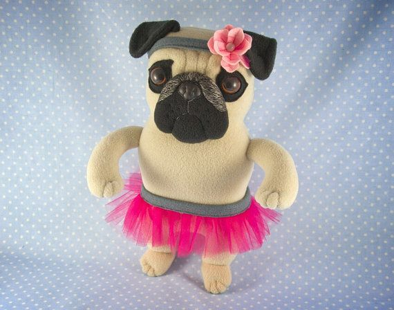 Plush Pug Girl in Ballerina Outfit handmade soft art toy by entala