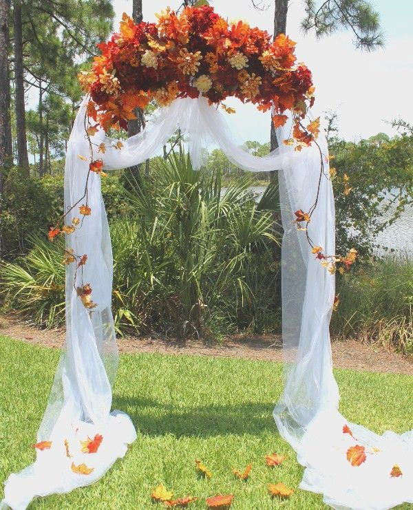 Backyard fall wedding outdoor fall wedding arch for Autumn wedding decoration