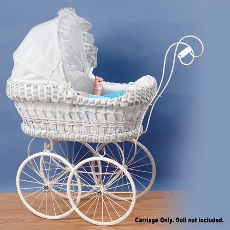 Large White Wicker Victorian Doll Carriage :: Dolls Carriages & Stroller :: Dolls & Accessories :: Home