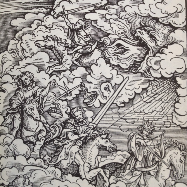 The Apocalyptic Horsemen. - Woodcut by Hans Burgkmair, from Das Neue Testament, printed by Silvan Othmar, Augsburg, 1523.