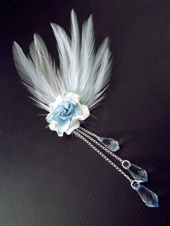 Boho feather hair clip blue feather by CindersJewelryDesign
