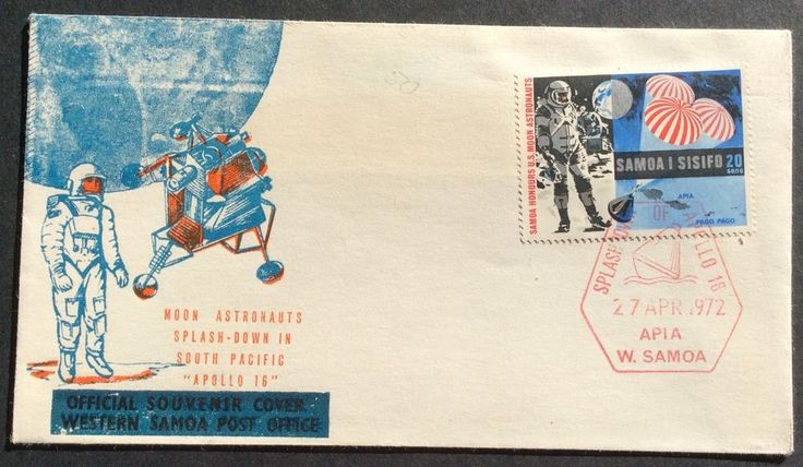 1972 Samoa Souvenir Cover Apollo 16 Moon Astronauts Splashdown in South Pacific in Stamps, Pacific, Samoa | eBay!