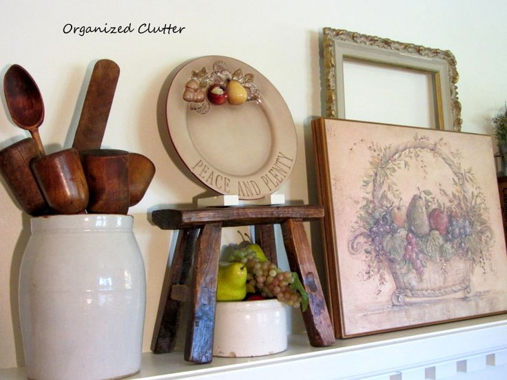 Organized Clutter: An Early Fall Mantel & Using a Pinterest Tip
