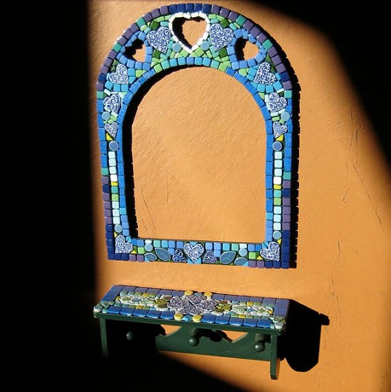 Upcycled Mosaic Mirror in Blues and Yellows with Hearts and a Small Matching Shelf
