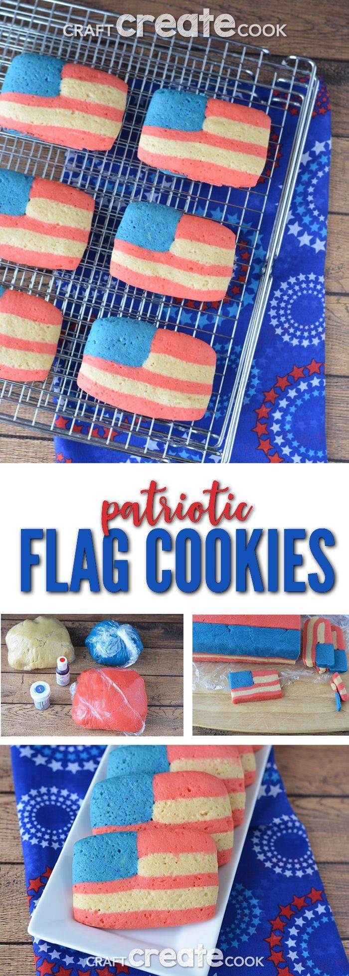 Slice and bake American Flag Sugar Cookies are easier than traditional cut-out sugar cookies!  via @CraftCreatCook1