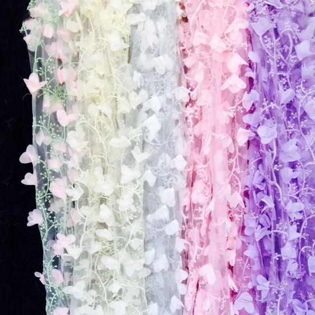 Цельный Платье Кружева Ткань Трехмерная Шифон Цветок Вышивка Сетка Ширина 130 см 1 метров