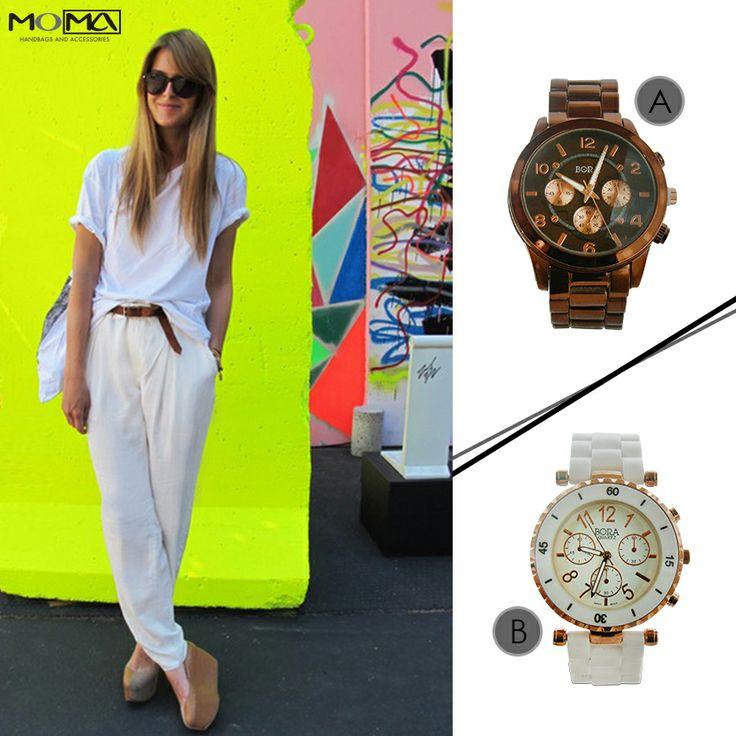 Con este outfit cuál reloj prefieren A o B ? #moma