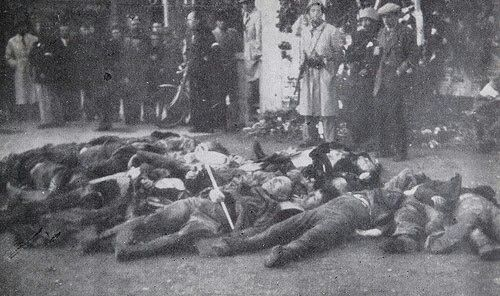 Mussolini along with 14 other Fascists killed by Italian communist partisans.