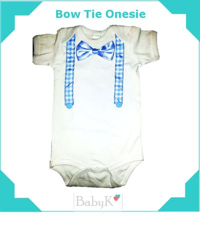 Bow Tie and Suspender Onesie for little boys.  Made with love by BabyK.