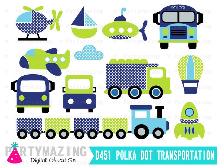 New from Partymazing on Etsy: Polka Dot Transportation Clipart for Boys (Personal & Small Business Use) Blue and Green Digital Clip Art Graphics INSTANT Download D451 (3.75 USD) For more @partymazing