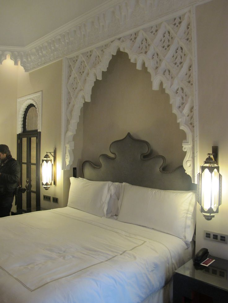 home inspiration -- modern moroccan bedroom.  love the alcove detail.