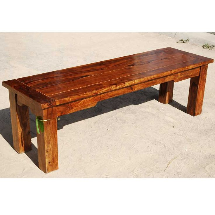 Solid wood rustic backless bench dining patio outdoor for Garden table designs wood