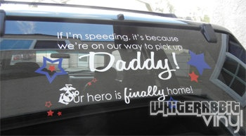 I kinda want this for homecoming, even if it's just one day and a 20 minute drive! Military Homecoming Decal by WhiteRabbitVinyl on Etsy, $20.00
