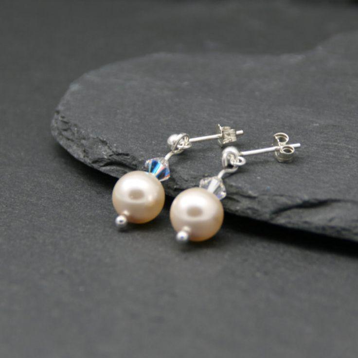 Cream Rose Pearl Earrings, Silver Pearl Earrings, Sterling Silver Earrings…