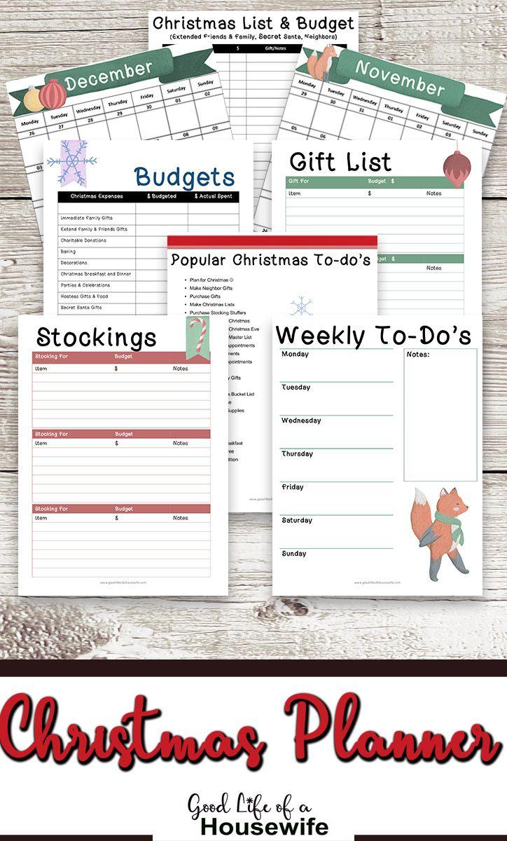 christmas printables and budget planner christmasto do list