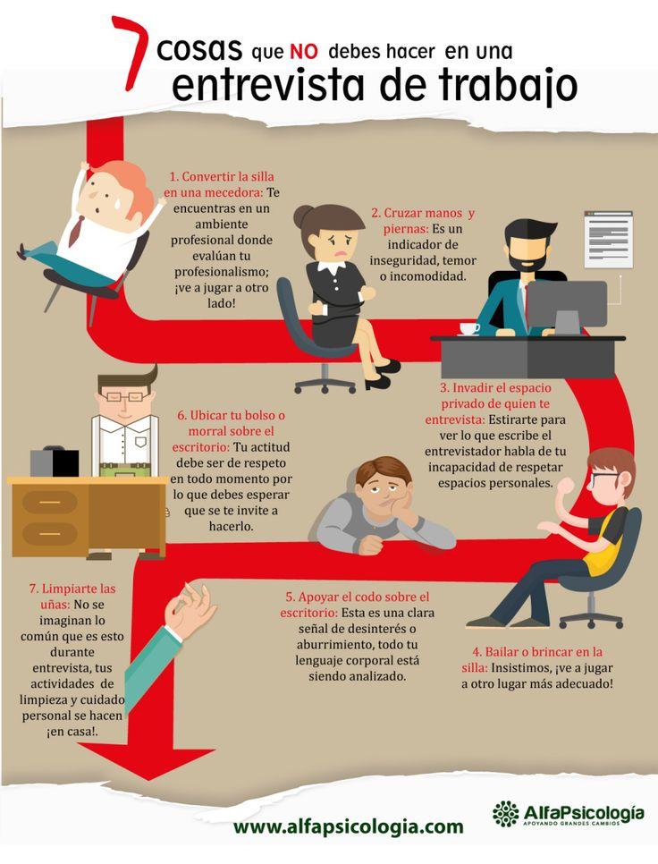 7 cosas que no debes hacer en una Entrevista de Trabajo #infografia #infographic #empleo