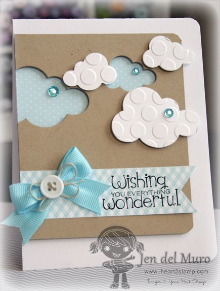 handmade cloud card with positive and negative die cut clouds ... sweet in kraft, blue & white ... like the large embossed circles of the positive die cut clouds ... Do this on scrapbook layout with Silhouette