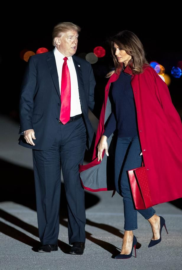 President Donald J. Trump with first lady, Melania arrive aboard Air Force One at Palm Beach International Airport in West Palm Beach, Florida on February 2, 2018. President Trump will be staying the weekend at Mar-a-Lago. (Allen Eyestone / The Palm Beach Post)