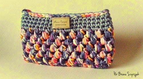Crochet y Dos agujas: Patrones de monedero tejido crochet con trapillo/t...