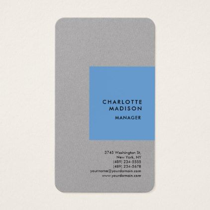 Blue Grey Modern Minimalist Plain Professional Business Card - architect gifts architects business diy unique create your own