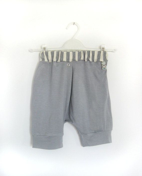 Grey baby pants trendy harem shorts for boy or girl by bugnbee, $19.00