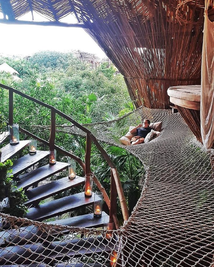Who would you hang here with? A bamboo cabin into…