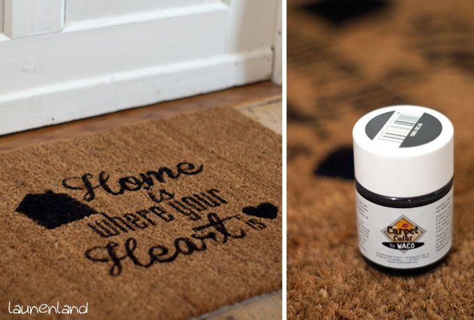 DIY Fußmatte mit Mialoma Plotterfreebie und Teppichfarbe bemalen