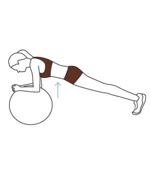 15-Minute Full-Body Exercise-Ball Workout    Move 3: Plank  Assume the top of a push-up position but rest your forearms on the ball. Keep your abs strong and your neck in line with your spine. Hold the pose for 45 seconds.