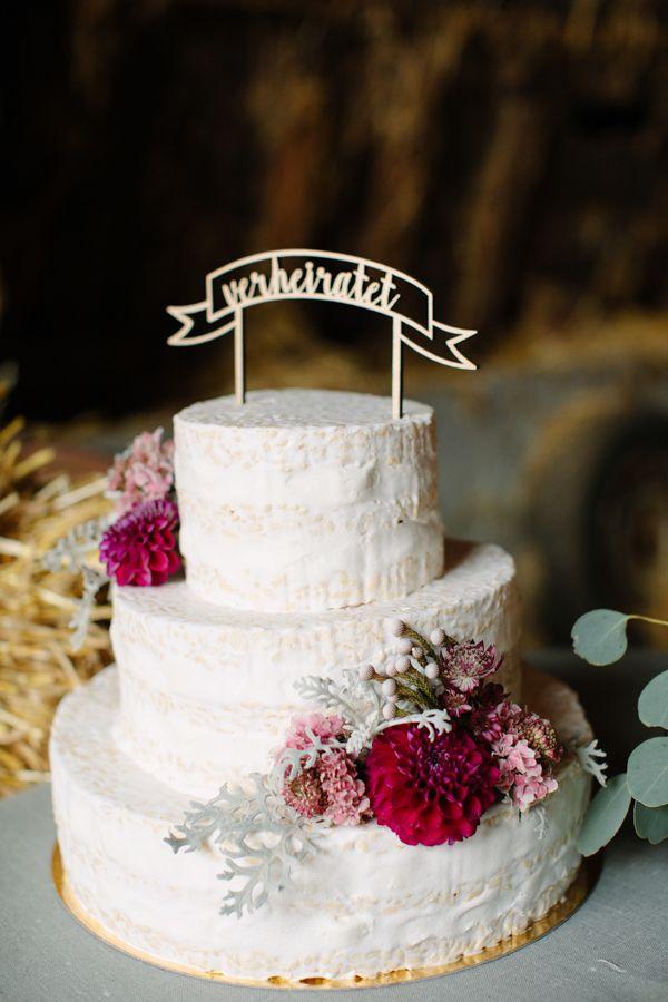 "Farm Love: Rustic Wedding Inspiration. Photography: Aline Lange Fotografie| Wedding Gowns: Rue de Seine (""Haze Gown"" & ""Ivy Gown) via Hey Love, Munich|Florals & Deco: Marike Schmid,Florales Handwerk | Location: Privat| Hair, Make-Up und Manicure: Julia Götz,Brautstyling Mannheim | Cake:Chocami | Cake Topper:Fr. K sagt Ja-Shop | Jewelery:Michaela Römer | Stationary:Schneider's Family Business | Models: Anna & Chris as seen on Wedding Blog Humming Heartstrings. Read more…"