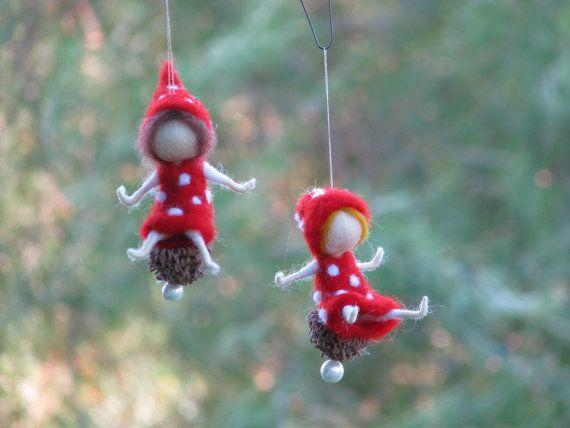 Needle felted christmas fairy mushroom ornament waldorf Fliegenpilz dekoration