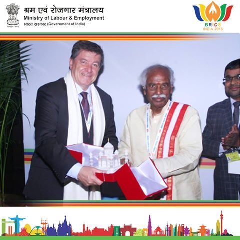Hon'ble Min. Shri Bandaru Dattatreya ji met DG ILO Guy Ryder at the BRICS meet, New Delhi.