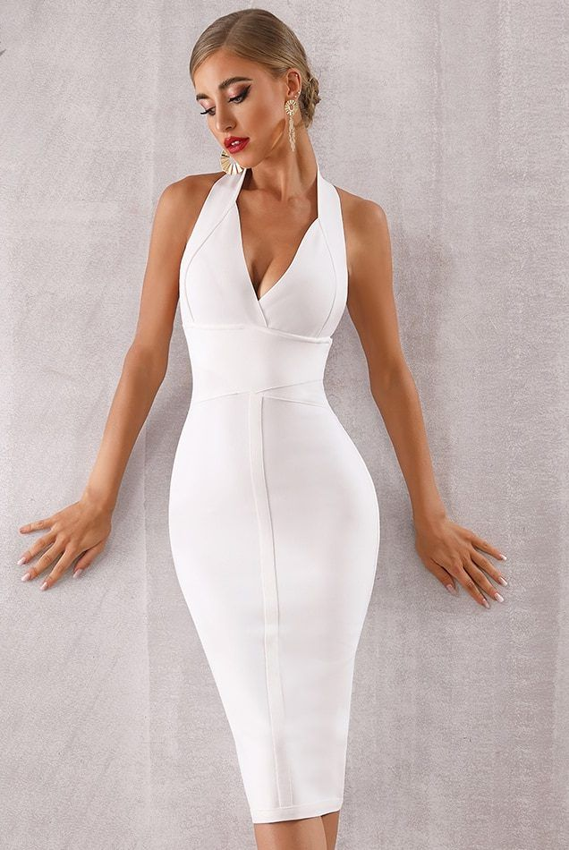 9e3e53f4e7ed White Bodycon Midi Dress Party Dress in 2019 | Mama Bear | Dresses ...